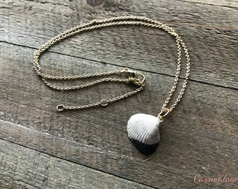 Pearl white sea shell necklace // Polymer clay