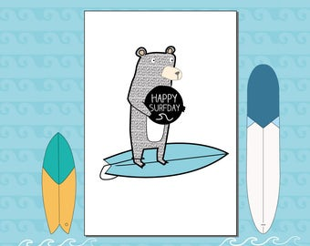 Happy Surfday | i.e. Happy Birthday to a Surfer fan - Greeting Card by Katie Cheetham