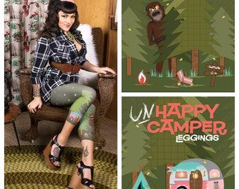 Un-Happy Camper Leggings Featuring Bigfoot