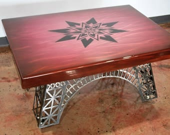 Modern Coffee Table, Eiffel Tower Table, Modern Industrial, coffee table base, steel coffee table, epoxy top, coffee table, metal table