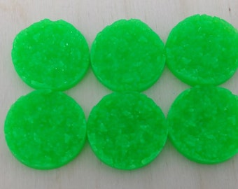 Green 25mm nugget faux druzy Cabochons 6pcs