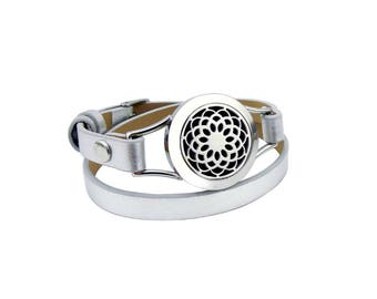 NEW Essential Oil Diffuser lotus leather wrap bracelet- SILVER