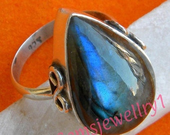 Labradorite Stone Ring,Sterling Silver Ring, Silver Ring,Labradorite ring, Blue light Ring,Size 5 6 7 8 9 10 11 12 13 14, RSILVER-0407150037