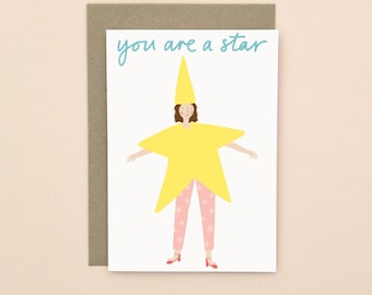 Illustrated You're A Star Card A6
