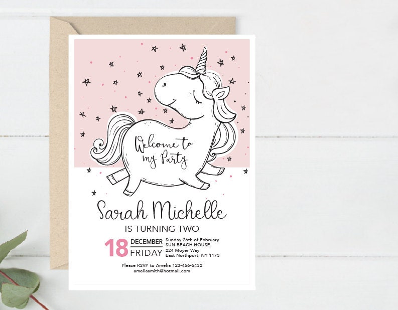 Modern Birthday Invitation Unicorn Bday Invite Printable Baby Shower Party First