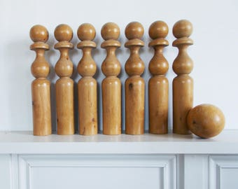 Large Antique Skittles Wooden with Original Ball from France Set of 7
