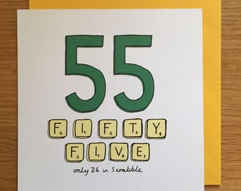 55th birthday card / 55/ 55th / scrabble