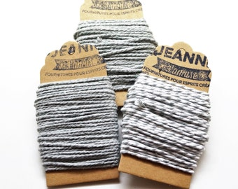 Kit 3 coupons cotton strings baker's twine, gray, gray and white, gray and metallic thread, 3 x 10 m