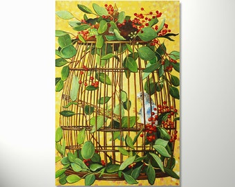 Oil on canvas painting Bird Original one of a kind still life painting , Wall art painting