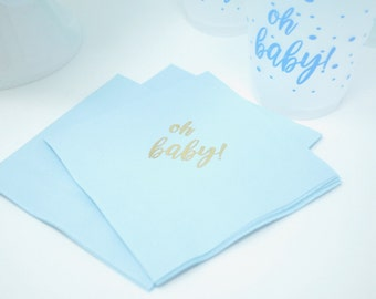 Oh Baby Beverage Napkins (pink, blue, white) - qty 20