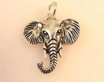 ELEPHANT HEAD .925 Sterling Silver Charm Trunk Left Tusks Pendant Safari Asian African Animal Zoo New an31