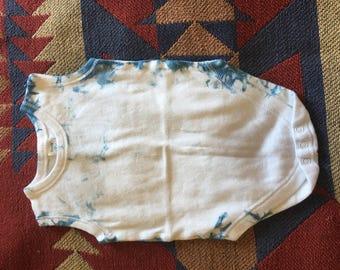 Hand dyed indigo shibori 9 month onesie