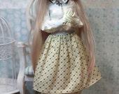 "BJD doll MSD clothes Minifee LittleGem KidDelf Volks clothing flora and fauna skirt printed cotton ""Snails and dots"""