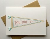 You Did It! Hand Stitched Greeting Card. Congratulations/Encouragement Card. Grads Card!