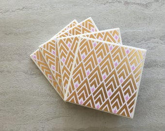 Gold Foil Coasters, Gold Foil Gift, Gold and Pink Coasters, Gold Geometric Coasters, Geometric Coasters, Tile Coasters, Glam Coasters