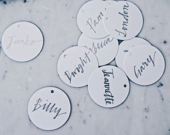 Custom Hand Drawn Metallic Silver Lettering Sign / Name Cards Tags / Place Card / Calligraphy/ Party Event Wedding Birthday Outdoor Hens