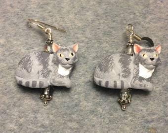 Grey and white ceramic tabby cat bead earrings adorned with grey Czech glass beads.