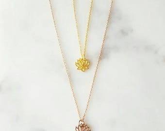 Cut Out Lotus Charm Necklace