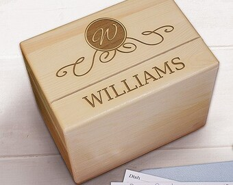 Engraved Family Wood Recipe Box-Personalized Recipe Box