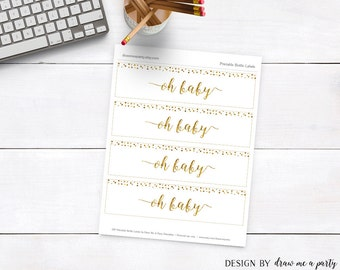Oh Baby Shower Decorations , Gold Bottle Labels ,  Gold Baby Shower , Printable , Instant Download