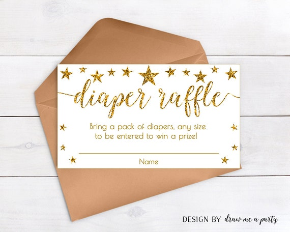 Twinkle Twinkle Little Star Diaper Raffle Baby Shower, White And Gold Baby  Shower Raffle Tickets Invitation Insert, Printable DIY   STG03