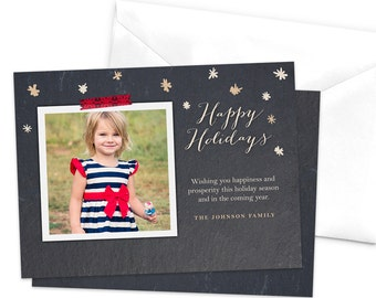 Snow Flakes Christmas Photo Card / Printable Holiday Card / Photo Holiday Card / Custom Christmas Card / Printable Holiday Card