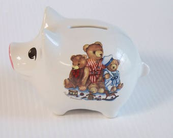 "Vintage Piggy Bank - Collectible  Reutter Porzellan Germany Teddy Spielstunde 5"" Piggy Bank"