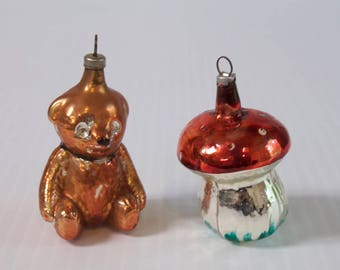 Vintage Christmas Ornaments - Brown Bear and Mushroom 1950s Mercury Glass Mouth Blown and Hand painted ornaments
