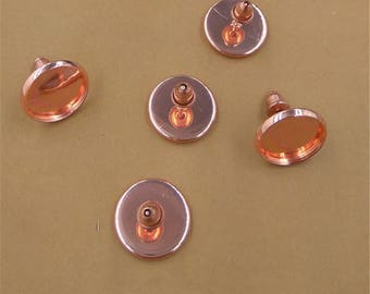 50 pairs (100 pcs) rose gold earring Studs 8mm-16mm Cabochon Bezel Setting Nickel Free