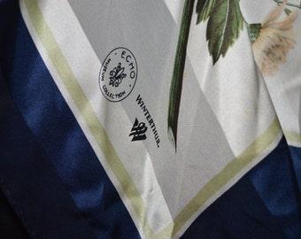 Echo scarf / Winterthur Museum scarf / ladies scarf / scarf / silk scarf / navy blue / ivory / tan / Winterthur / Echo / square scarf