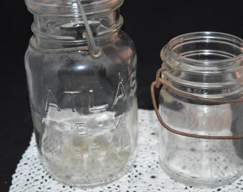 Atlas canning jars / Set of two / glass / Atlas / canning jars / vintage / vintage glass / vintage canning jars / glass jars / Atlas jars