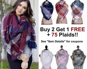 Christmas gifts for her, blanket Scarf, plaid tartan scarf, Oversized scarf, stocking ...