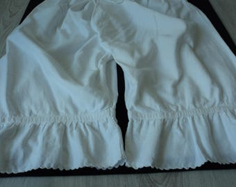 French Vintage handmade white brushed cotton bloomers (04350)