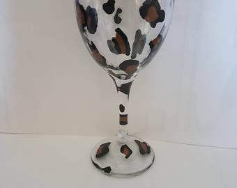 Hand painted Leopard print wine glass.