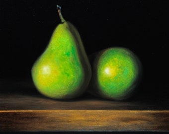 "Daily painting - ""GREEN PEARS"" Sebastian Talar (oil painting, small still life painting, original painting, original art, daily painter)"