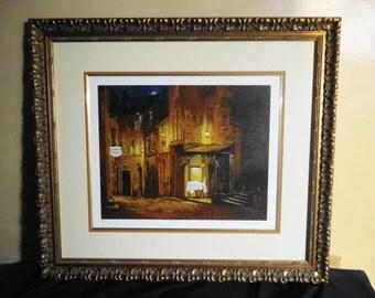 "Viktor Shvaiko Hand Embellished Serigraph on Canvas: ""Moonrise a the Rhodez"""