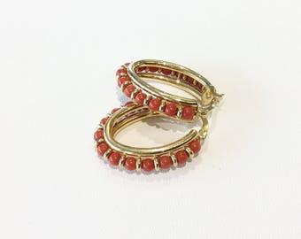 Vintage 18kt Coral Hoop Earrings