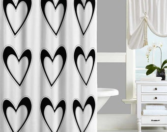 Black and White Shower Curtain, Hearts Shower Curtain, Black Bathroom Decor, Modern Bathroom Curtains White Bathroom Accessories 70x70 71x74