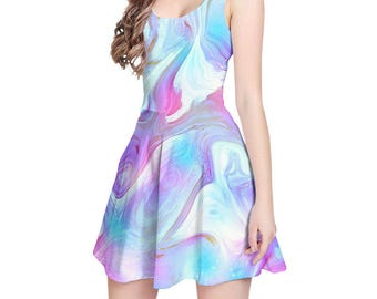 Sleeveless Dress, Pink, Blue Purple Dress, Short Summer Dress, Colorful Abstract Dress, Fit and Flare Dress, Womens Dresses, XS, S, M, L, XL