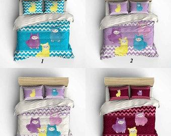 Kids Bedding, Kids Duvet Cover, Comforter, Childrens Bedding, Llama Bedding, Llama Pillow, Purple Blue Pink Red, Twin, Queen, Bedroom Decor