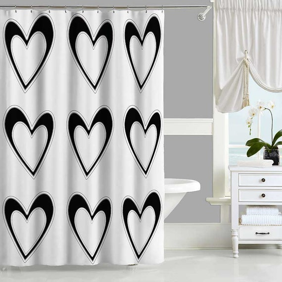 Black And White Shower Curtain Hearts