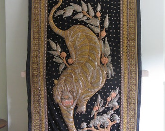 Asian Gilt-Embroidered Textile Wall Hanging of Tiger