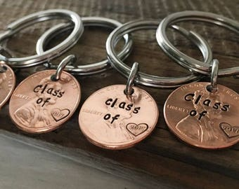 High school graduation gift 2017 graduation gift, class of 2017 penny keychain Engraved custom text penny keychain, 8th grade class gifts