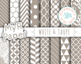 """SALE 50% Taupe Digital Paper: """"White & Taupe"""" Digital Paper Pack and Backgrounds with Chevron, Damask, Triangles, Stripes and Polka Dots"""