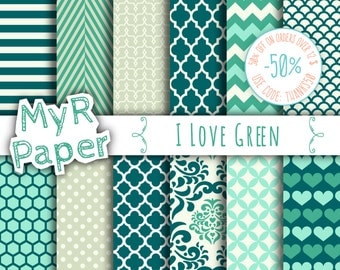 "Green digital paper: ""I LOVE GREEN""  pack of backgrounds and patterns with  chevron, polka dots, stripes, dots, damask, quatrefoil, hearts"