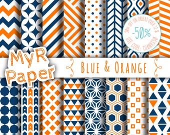 "Geometric Digital Paper Pack: ""Blue & Orange"" geometric patterns for scrapbooking, invites, cards - printable - Backgrounds"