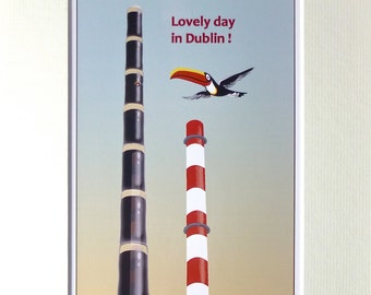 Man Cave Gift, Irish Stout Beer, Pub Wall Art, Poolbeg Chimney, Dublin Bay, Brewery Toucan, Made in Ireland