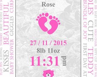 Personalised Baby Print (Deep Pink).
