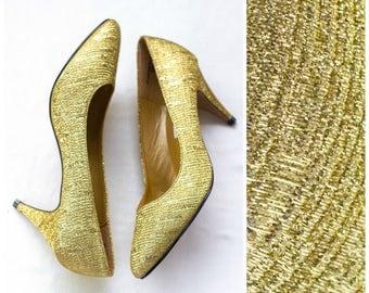 Gold metallic weave high heels NEVER WORN
