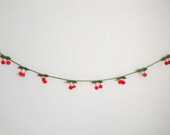 Red Cherry Felt Garland